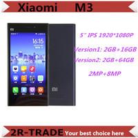"Original Xiaomi Mi3  WCDMA Qualcomm Quad Core Xiaomi M3 Mobile Phone 2GB RAM 5"" Miui V5 1080p 13mp Camera 16G/ 64GB ROM Option"