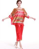 2PCS Big Women Girls Pajama Sets Tops Bottoms Summer Spring Print Imilated Silk Satin Plus Size Casual Clothing YTT14 New