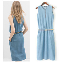 H-Line Knee-Length Women Slim Straight Denim Dress Ladies Casual Preppy Style Dress Cute Cotton Girls' Basic Sleeveless Dresses