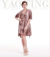 2PCS Big Women Girls Robes Nightgowns Sets Summer Spring Print Imilated Silk Satin High Quality Plus Size Clothing YTT6 DZ5  New