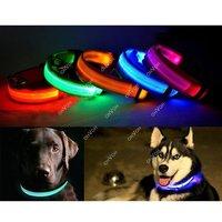 LED Light Flashing Pet Dog Safety Collar For Night Nylon Adjustable S M L XL Dropshipping S5K