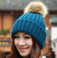 High quality Free shipping 2014 New Women Winter hats Woolen knitted Lady warm Beanies Faux Fur women caps for Girl