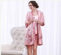 3PCS Big Women Girls Robes Tops Bottoms Sets Summer Spring Print Imilated Silk Satin High Quality Plus Size Clothing YTT9