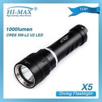 HI-MAX 200Meters 1pcs CREE XM-L U2 LED Diving Torch scuba diving led flashlight waterproof led waterproof torches