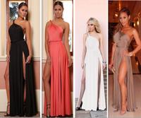 HOT Aliexpress four and 014 new sexy shoulder halter dress HZ029 long dress