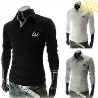 2014 new mens polo Embroidered design fashionable slim polo  long sleeve free shipping 3 colors 4 size