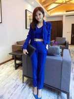 2014  New Hot autumn sexy vest & Pant & coat 3 pieces suit jacket trousers set piece set suits women blue and white