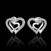 New Design 18K white silver plated Korean Romantic rhinestone heart earrings jewelry High Quality Alloy Stud Earrings 2014 M11