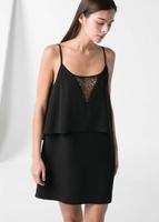 731Fashion  lace stitching  sexy V-neck dress sundress
