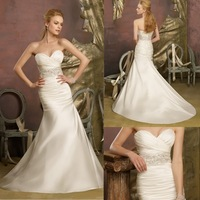 Free Shipping High Quality Sweetheart Backless Trumpet Satin Wedding Dress China Supplier  ---  AA335
