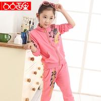 Casual 7 medium-large female child spring 2014 girl fashion sweatshirt sportswear sports set