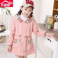 Female child autumn 2014 medium-long trench little girl cardigan big boy fashion overcoat 13