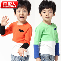 For 2014 spring small male child fashion color block decoration o-neck long-sleeve T-shirt child basic shirt