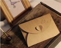 EN029 175*125mm Vintage Kraft Paper Envelope with Heart Shape for Wedding Invitation/ Card Packing/ Wedding Decoration