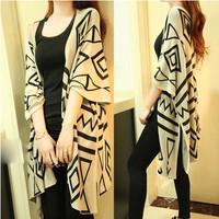 Autumn winter loose big yards dress geometric fur shawl cardigan sweater coat Free Shipping Fat MM
