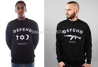 DEFEND COEXIST sweats hot sale 2015 new style hip hop sweatshirts skateboard hoodie o-neck men women winter clothing