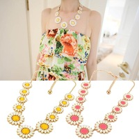 Fashion  Women's Candy Color Sunflower Clavicle Chain Pendant Necklace free shipping#L10150