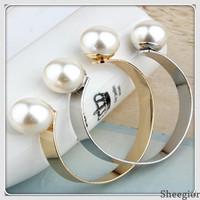 2014 Fashion Double Big Pearl Bangles Brand Love Bracelets bangles women Cuff Bracelets Top quality jewelry