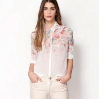 1pcs New Fashion OL Lapel Collar Button Lady Women Flowers Chiffon Long Shirt Tops BlousesBlusas Femininas 2014