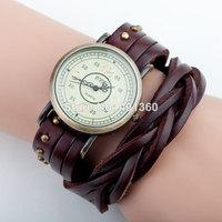 2014 New Vintage Retro Rivet Braided Genuine Leather Strap Women Wristwatches Bracelet Dress Watches Clock .