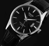 Fashion  Synthetic Leather Big Dial Free Shipping Men Luxury Quartz Wristwatch Watch  Business men calendar watch