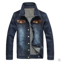 2014 Spring Autumn Men's Denim Jackets Jeans Jacket Men Winter Casual Outdoor Youth Street Fashion Man Slim Fit Coat PU  Leather