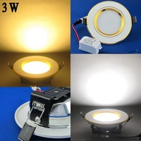 3 pcs/lot 3W Energy saving LED Ceiling Down Light Round Embedded Pure White/Warm White AC100-265V Panel lights LEDTD031