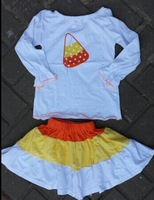 halloween candy corn top and skirt set  halloween boutique outfits