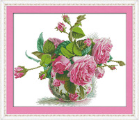 Romantic Pink Rose Counted Cross Stitch Unfinished DMC Cross Stitch DIY Dimension Cross Stitch Kits for Embroidery Needlework