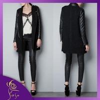 Brand New Women Woolen Coat Long Section Temperament Luxury Zipper Wool Coat With PU Leather Sleeve Fashion Overcoat For Women