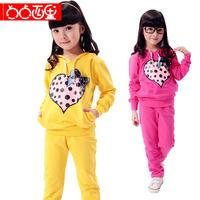 5 female child spring 2014 strawberry sports set school wear clothes 6 7 8 10 13