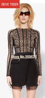 (DEIVE TEGER) Designer European  BLACK  O-Neck Long Sleeves Above Knee Throughout Eye Lash Lace Patchwork Women Silk Dress DT201