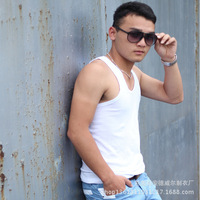 2014 Summer basic vest Fashion Basics Fitness Men Bodybuilding Top Quality vest Elastic stretch men vest undershirt