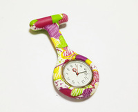 Hot Selling Nurse Doctor Watch Coloful Flower Print Pocket Watches PIN Medical Watch Best Gift for Children 2014 New Fashion