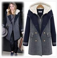 Top Quality Women Winter Warm Coat. Detachable Woolen Coat hooded Cashmere Vest Twinset Hit Color Wool Double-breasted Long Coat
