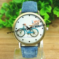 100pcs/lot women's fashion all match bike wrist watch jean vintage watchband dress watch man woman casual sport cowboy watches