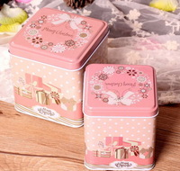 Free Shipping! 2pcs/lot  2014 Christmas Decoration Gift Box Pink Color Metal Storage Box Candy & Tea Box Gift C