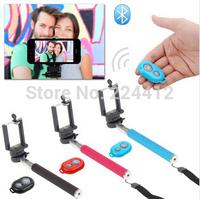 Free Shipping Bluetooth Romote Shutter Control+Clip Holder+Selfie Stick Handheld Monopod 3pcs/lot Self-timer Photo Magic Kit