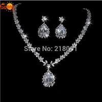 Dazzling luxury  drop water AAA Cubic zircon  lady's part Necklace and earrings  jewellery suit