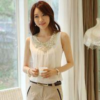 Summer plus size clothing 2014 loose chiffon shirt spaghetti strap vest women's white sleeveless top