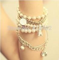 Small jewelry Wholesale multielement pearl bracelet the Eiffel Tower multilayer bracelet