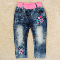Retail children jeans baby girls' jeans with flower embroidery children clothes girls' jeans nova kids wear hot sale G5130