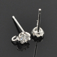 Exquisite Imatation Rhodium Filled Clear CZ Womens /Girls Stud Earrings With hook  MOQ:300pcs