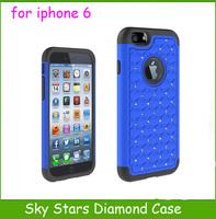 Fedex Free 100pcs Luxury Bling Bling Star Diamond Case Back Cover 3 in 1 Hybrid Shock Proof Armor Hard Back Case For iphone 6