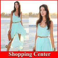 Freeshipping Summer new 2014 women spring casual bohemian chiffon vest irregular dress dropshipping