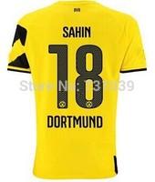 New Top Quality 2014 2015 Borussia Dortmund Home Yellow Away Black Soccer Jersey Thailand Quality BVB Home Jersey Custom NO.18
