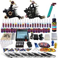 new Complete Tattoo Kit 2 Pro Machine Guns 40 Inks Power Supply Needle Grips TK229