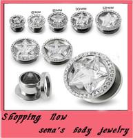 New come star logo screw ear plug  free shipping mix 6~12mm 80pcs/lot shinning zircon body piecing jewelry ear tunnel jewelry