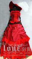 New Anime Black Butler Kuroshitsuji Sexy Gorgeous Dress Madam Red Cosplay Halloween Party Costume