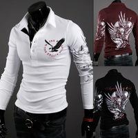 Hot new European style eagle tattoo printing casual long-sleeved shirt lapel  Men long sleeve T- shirt , TX204